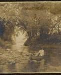 Woodland Scene with Woman and Dog in a Boat - John Norris Teunisson
