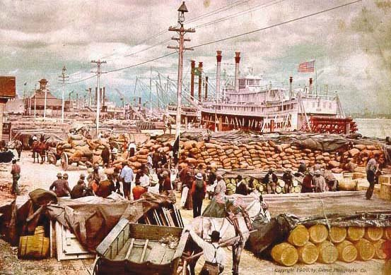 painting of the Base of Canal Street filled with bags of coffee in 1900
