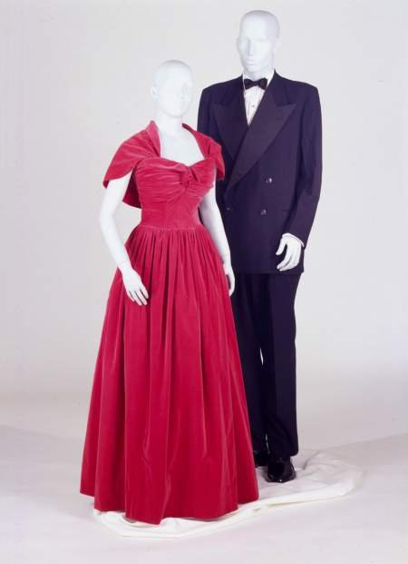 Evening dress and capelet and tuxedo