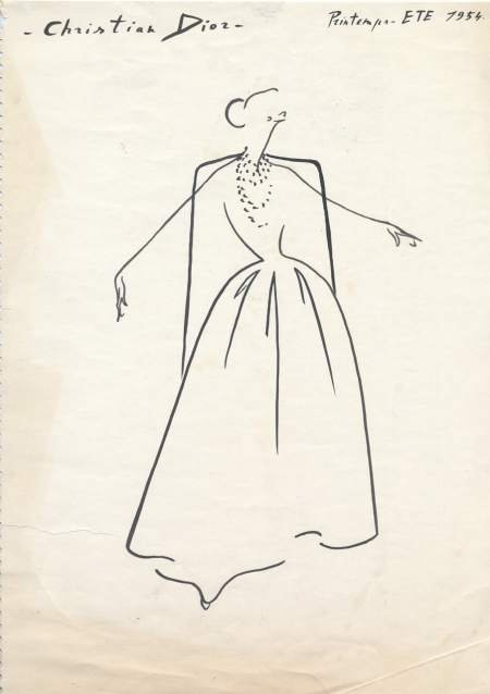 Sketch for Christian Dior evening gown