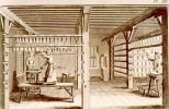 drawing of a drying loft full of paper sheets