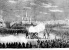 portrayal of Police Firing on the Militia and Rioters in Jackson Square from Frank Leslie's Illustrated Newspaper, 1873