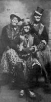 photograph of 3 Zulu comic characters in costume, 1939