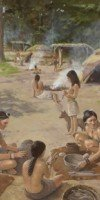 Village life 2000 years ago.  Painting by Martin Pate.