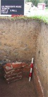 Brick pier possibly associated with the Ordinance Officers Quarters at the U.S. Arsenal Grounds (ca. 1829-1879) and later the President's Residence (ca. 1886-1930) at the old Louisiana State University campus.