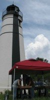 Volunteers screen for artifacts at the Tchefuncte River Lighthouse site near Madisonville.