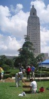 Excavation of former LSU president's residence, now on the grounds of the State Capitol.