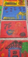 Children's Canvases Created at Jazz Fest - a project with YAYA Artists