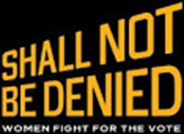 Library of Congress Shall Not Be Denied woman's right for the vote logo