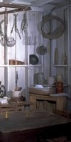 The kitchen, outfitted as would have been in the early 1800s