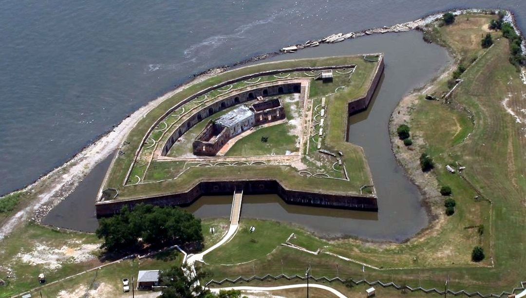 Aerial view of Fort Pike