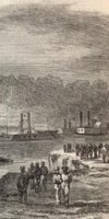 Union boats getting stuck in the river (from Harper's Weekly April 1864)