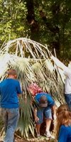 Students building a palmetto hut during <em>Native American Days</em>