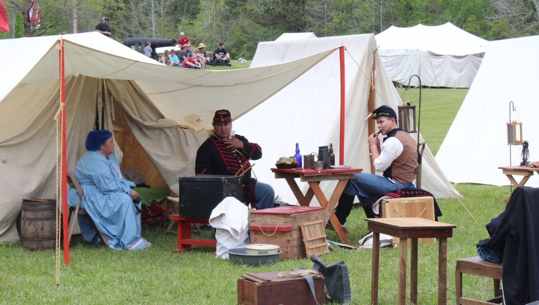 Battle reenactors taking a break