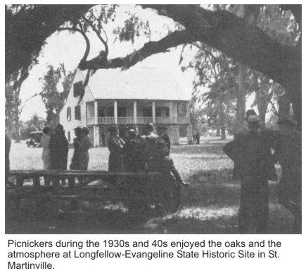 Picnickers during the 1930s and 40s enjoying the shade at Longfellow-Evangeline State Commemorative Area.