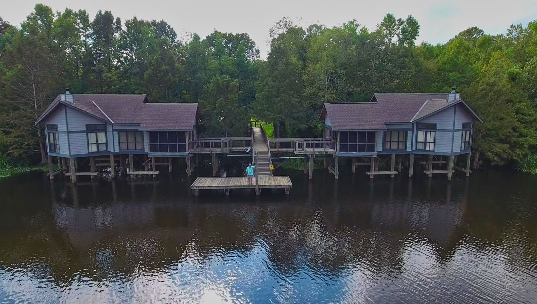 Aerial view of the lakefront cabins