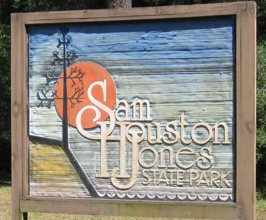 Sam Houston Jones State Park sign