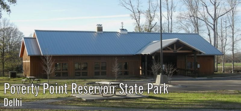 Exterior image of Poverty Point Reservoir's 50-person capacity meeting room