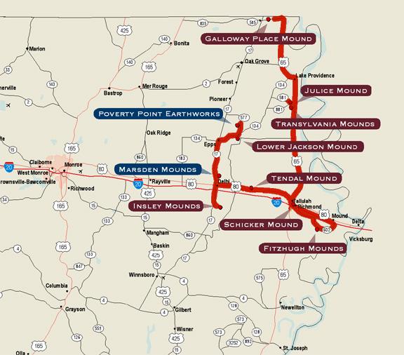 map of northeast louisiana Indian Mounds Of Northeast Louisiana A Driving Trail map of northeast louisiana