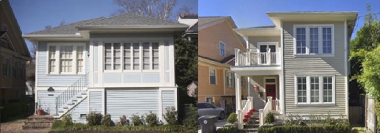 Before elevation (left) and after (right) shows how the introduction of new elements and materials adversely affect a historic property so it is no longer recognizable.