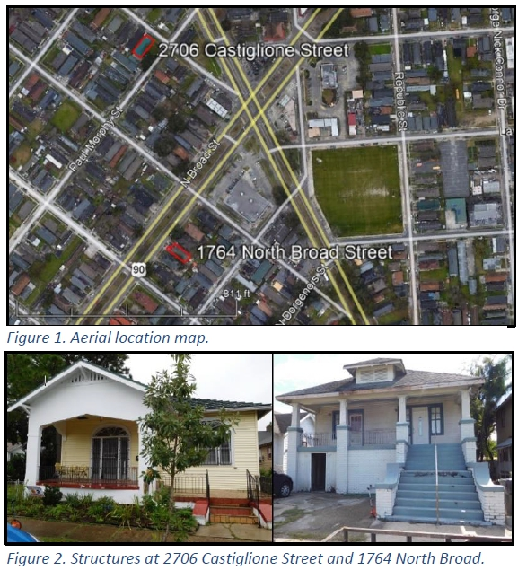 Aerial location map and images of structures at 2706 Castigilone Street and 1764 North Broad.