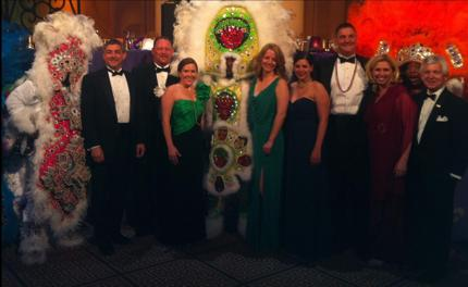 Lt. Governor Jay Dardenne and representatives from the Louisiana Office of Tourism, the New Orleans CVB, the Louisiana Seafood Promotion and Marketing Board and the New Orleans Tourism Marketing Corporation pose with Mardi Gras Indians.