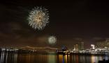 Fourth of July fireworks over the Mississippi River, New Orleans
