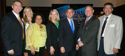 Mike Prejean, Louisiana Office of Tourism; Megan Ryburn, New Orleans Plantation Country; Joanne Scalamogna, Canadian representative Louisiana Office of Tourism; Katie Guasco, Visit Baton Rouge; Lt. Governor Jay Dardenne; Kyle Edmiston, Louisiana Office of Tourism and Ramon Gomez, West Baton Rouge CVB