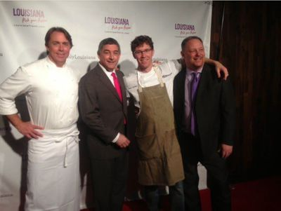 Chef John Besh, Lt. Governor Jay Dardenne, chef Brian Landry and assistant secretary Kyle Edmiston